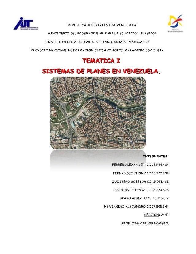Sistemas de planes en venezuela (tematica i)