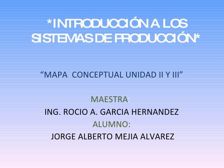 """*INTRODUC IÓN A LOS             C SISTEMAS DE PRODUC IÓN*                    C   """"MAPA CONCEPTUAL UNIDAD II Y III""""        ..."""