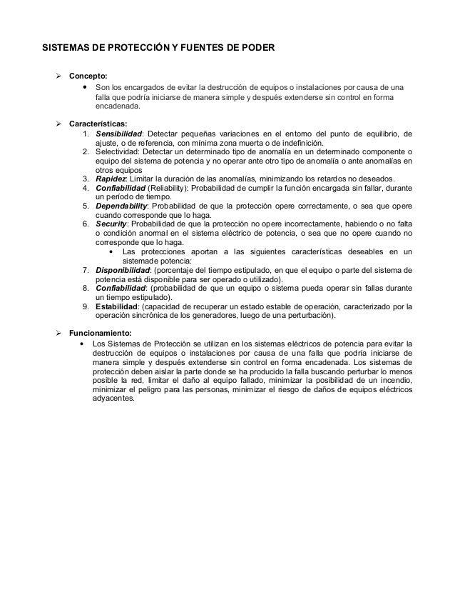 SISTEMAS DE PROTECCIÓN Y FUENTES DE PODER  Concepto:  Son los encargados de evitar la destrucción de equipos o instalaci...