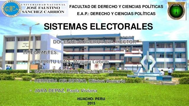 SISTEMAS ELECTORALES FACULTAD DE DERECHO Y CIENCIAS POLÍTICAS E.A.P.: DERECHO Y CIENCIAS POLÍTICAS HUACHO- PERU 2015