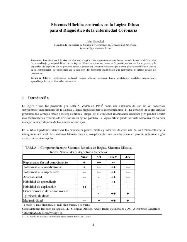 1 Sistemas Híbridos centrados en la Lógica Difusa para el Diagnóstico de la enfermedad Coronaria John Sprockel Maestría de...