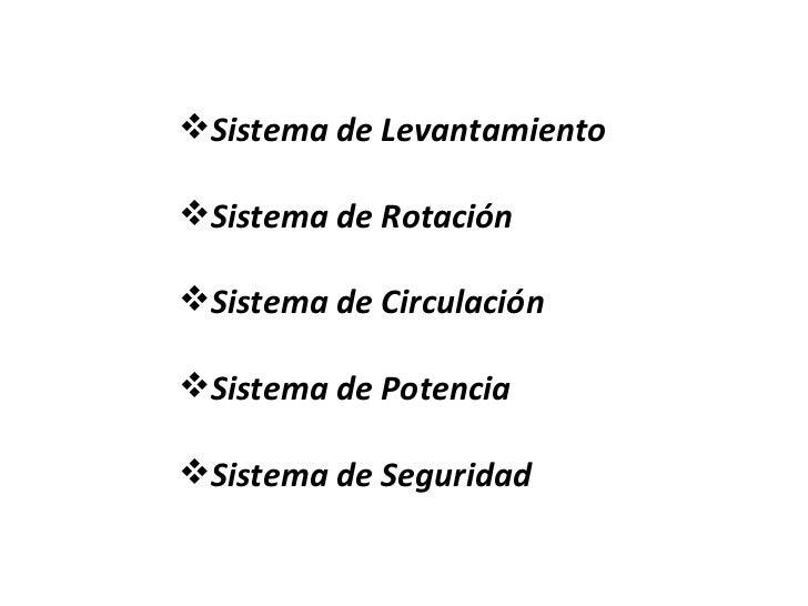 <ul><li>Sistema de Levantamiento </li></ul><ul><li>Sistema de Rotación </li></ul><ul><li>Sistema de Circulación </li></ul>...