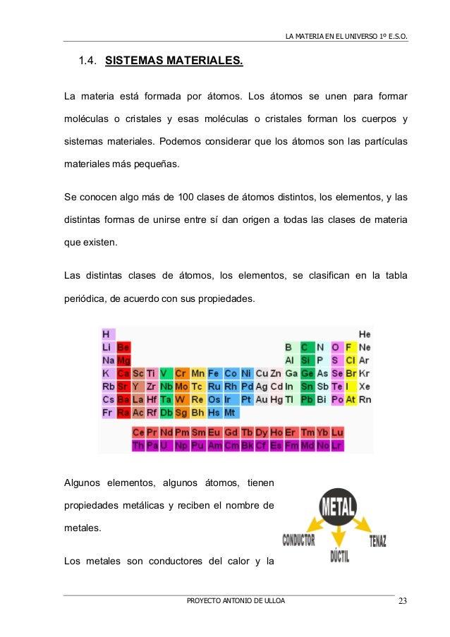 LA MATERIA EN EL UNIVERSO 1º E.S.O.PROYECTO ANTONIO DE ULLOA 231.4. SISTEMAS MATERIALES.La materia está formada por átomos...