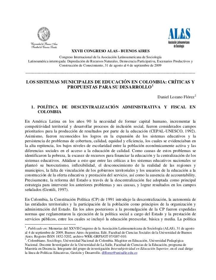 XXVII CONGRESO ALAS - BUENOS AIRES                         Congreso Internacional de la Asociación Latinoamericana de Soci...