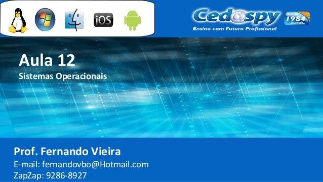 Aula 12 Sistemas Operacionais Prof. Fernando Vieira E-mail: fernandovbo@Hotmail.com ZapZap: 9286-8927