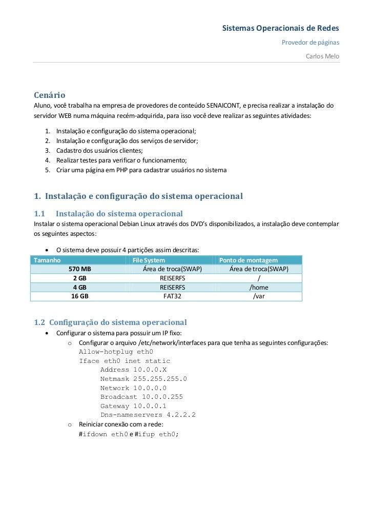 Sistemas operacionais   atividade prática de classe