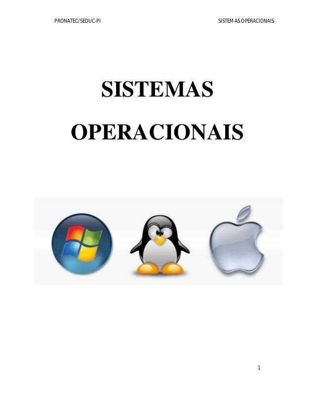 PRONATEC/SEDUC-PI  SISTEMAS OPERACIONAIS  SISTEMAS OPERACIONAIS  1