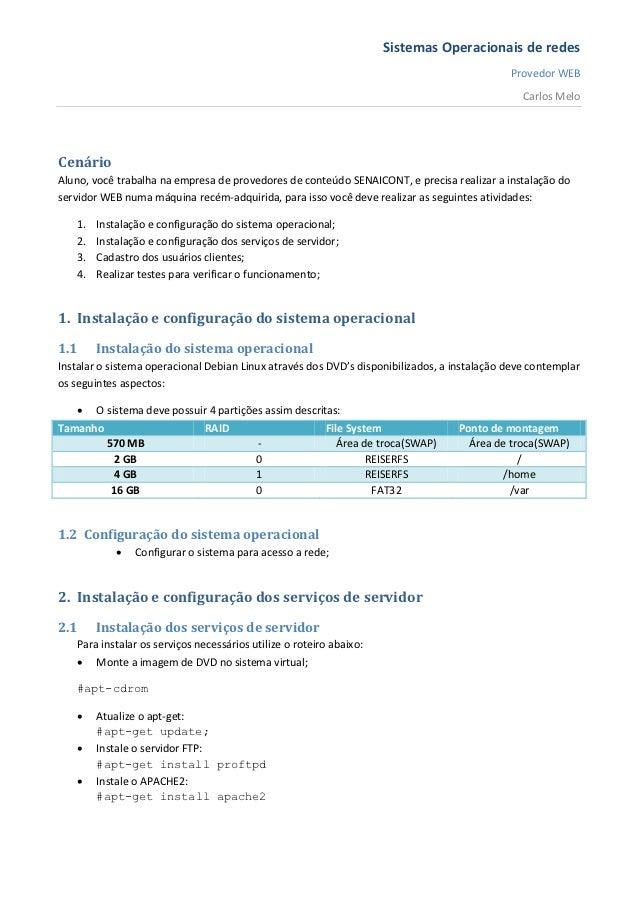 Sistemas operacionais de redes  atividade prática de classe - provedor web