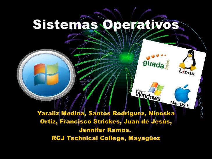 Sistemas Operativos Yaraliz Medina, Santos Rodríguez, Ninoska Ortiz, Francisco Strickes, Juan de Jesús, Jennifer Ramos.  R...