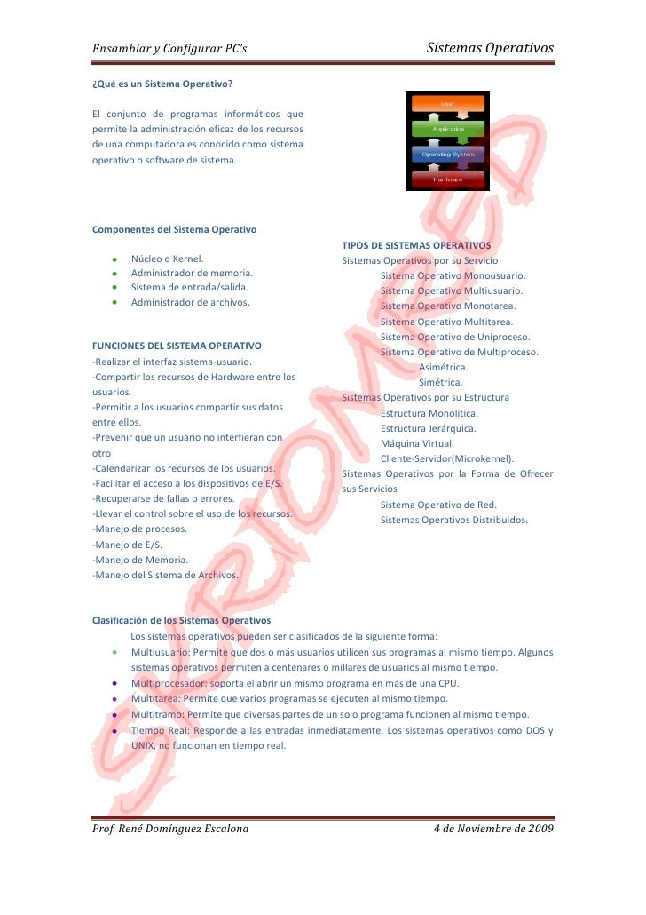 Ensamblar y Configurar PC's                                              Sistemas Operativos  ¿Qué es un Sistema Operativo...