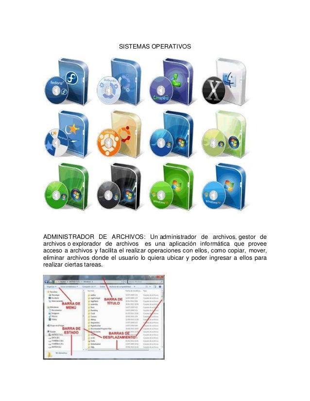 SISTEMAS OPERATIVOSADMINISTRADOR DE ARCHIVOS: Un administrador de archivos, gestor dearchivos o explorador de archivos es ...