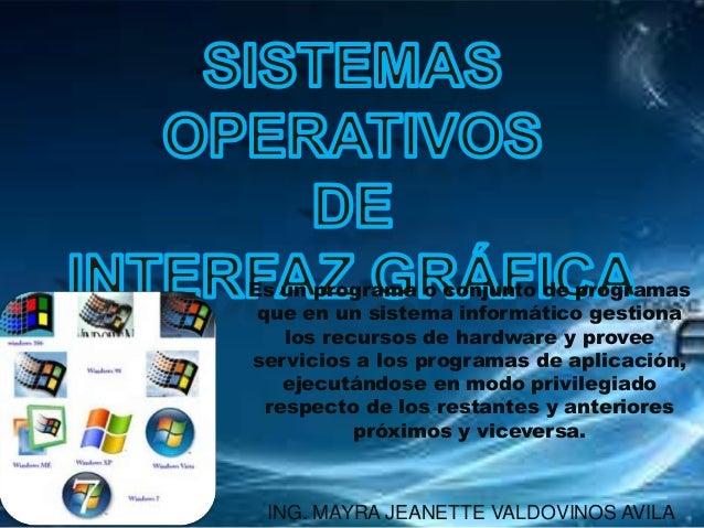 Es un programa o conjunto de programas que en un sistema informático gestiona los recursos de hardware y provee servicios ...