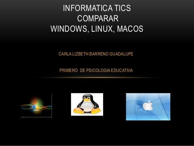INFORMATICA TICS COMPARAR WINDOWS, LINUX, MACOS CARLA LIZBETH BARRENO GUADALUPE PRIMERO DE PSICOLOGIA EDUCATIVA