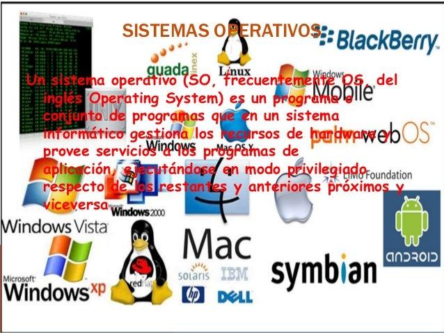 SISTEMAS OPERATIVOS Un sistema operativo (SO, frecuentemente OS, del inglés Operating System) es un programa o conjunto de...