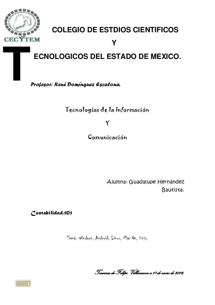 COLEGIO DE ESTDIOS CIENTIFICOS                                           YT    ECNOLOGICOS DEL ESTADO DE MEXICO.    Profes...