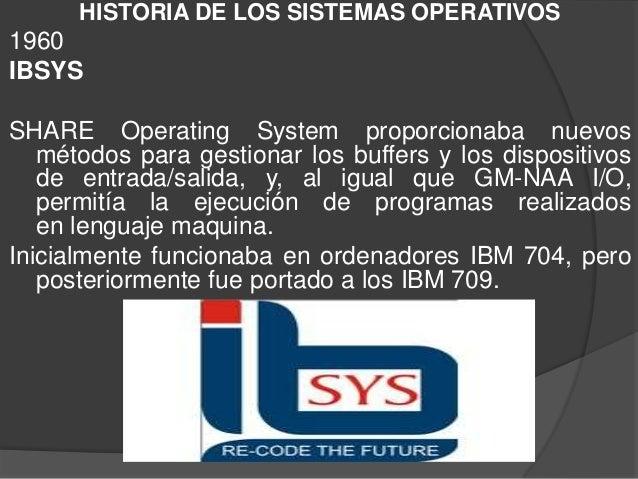 HISTORIA DE LOS SISTEMAS OPERATIVOS1960IBSYSSHARE Operating System proporcionaba nuevosmétodos para gestionar los buffers ...