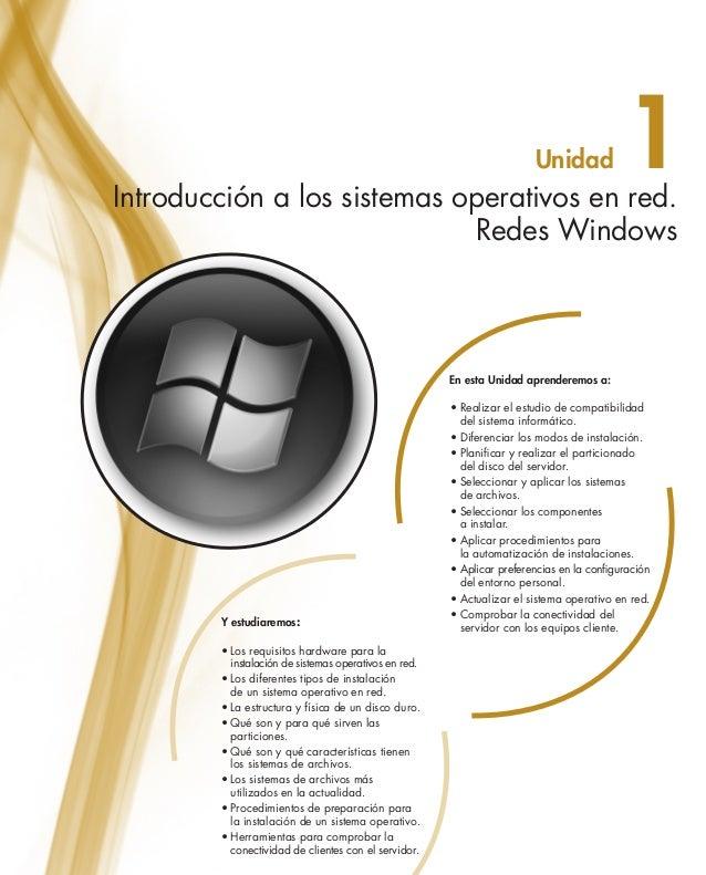 Unidad  1  Introducción a los sistemas operativos en red. Redes Windows  En esta Unidad aprenderemos a:  Y estudiaremos: •...
