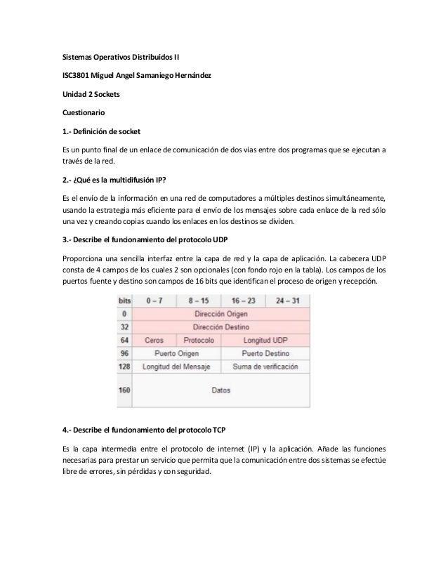 Sistemas Operativos Distribuidos IIISC3801 Miguel Angel Samaniego HernándezUnidad 2 SocketsCuestionario1.- Definición de s...
