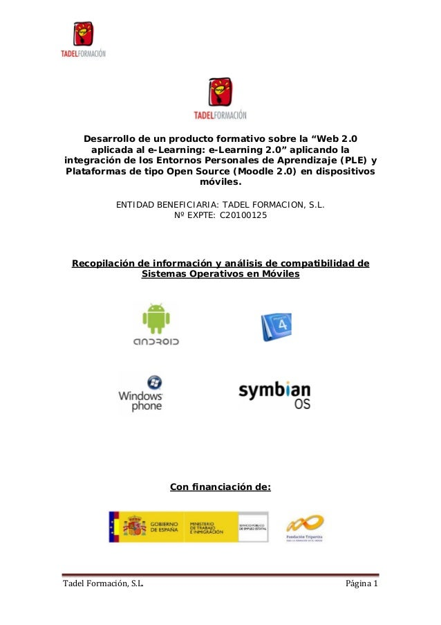 """TadelFormación,S.L. Página1 Desarrollo de un producto formativo sobre la """"Web 2.0 aplicada al e-Learning: e-Learning ..."""