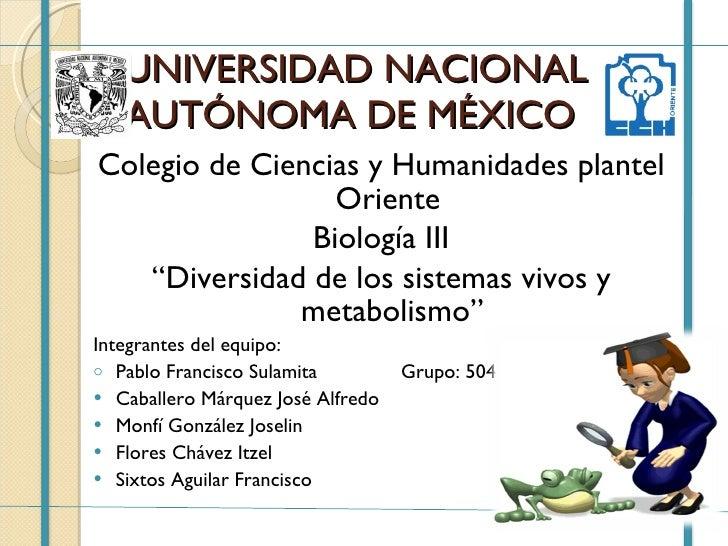 UNIVERSIDAD NACIONAL AUTÓNOMA DE MÉXICO  <ul><li>Colegio de Ciencias y Humanidades plantel Oriente  </li></ul><ul><li>Biol...