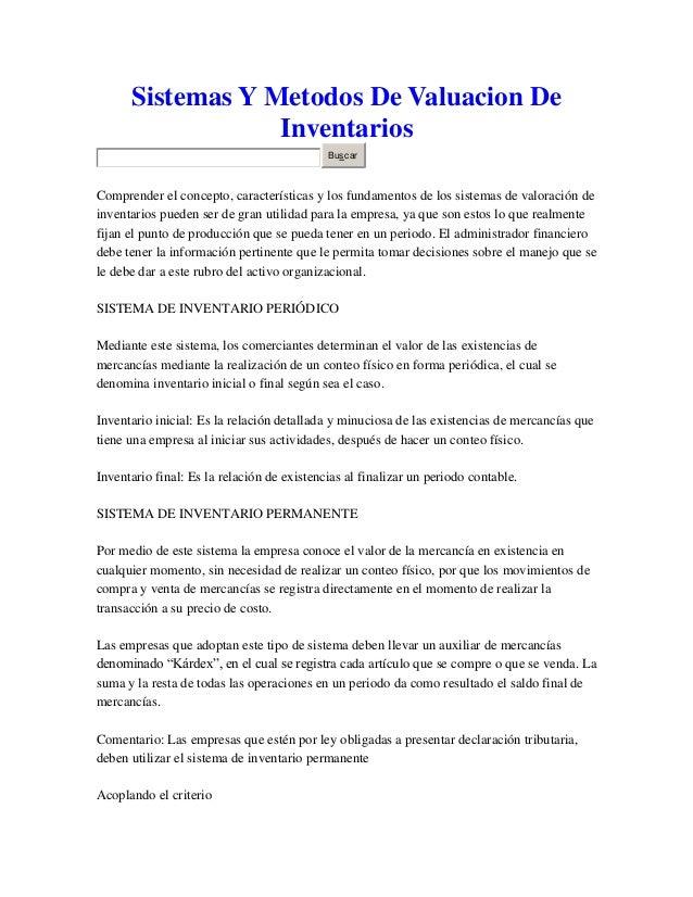 Sistemas Y Metodos De Valuacion De Inventarios Buscar  Comprender el concepto, características y los fundamentos de los si...