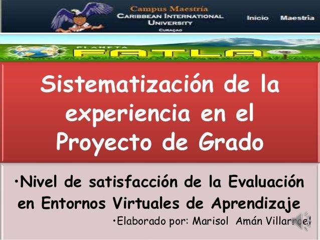 Sistematización de la experiencia en el Proyecto de Grado •Nivel de satisfacción de la Evaluación en Entornos Virtuales de...