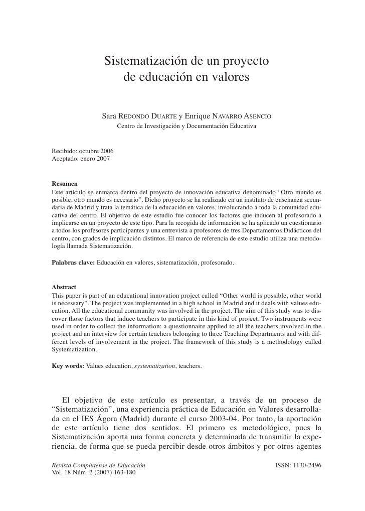Sistematización de un proyecto                       de educación en valores                   Sara REDONDO DUARTE y Enriq...