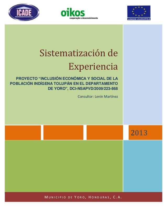 Sistematizacion proyecto Tolupan Yoro, OIKOS e ICADE