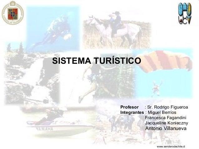 SISTEMA TURÍSTICO Profesor : Sr. Rodrigo Figueroa Integrantes : Miguel Berríos Francesca Fagandini Jacqueline Konieczny An...