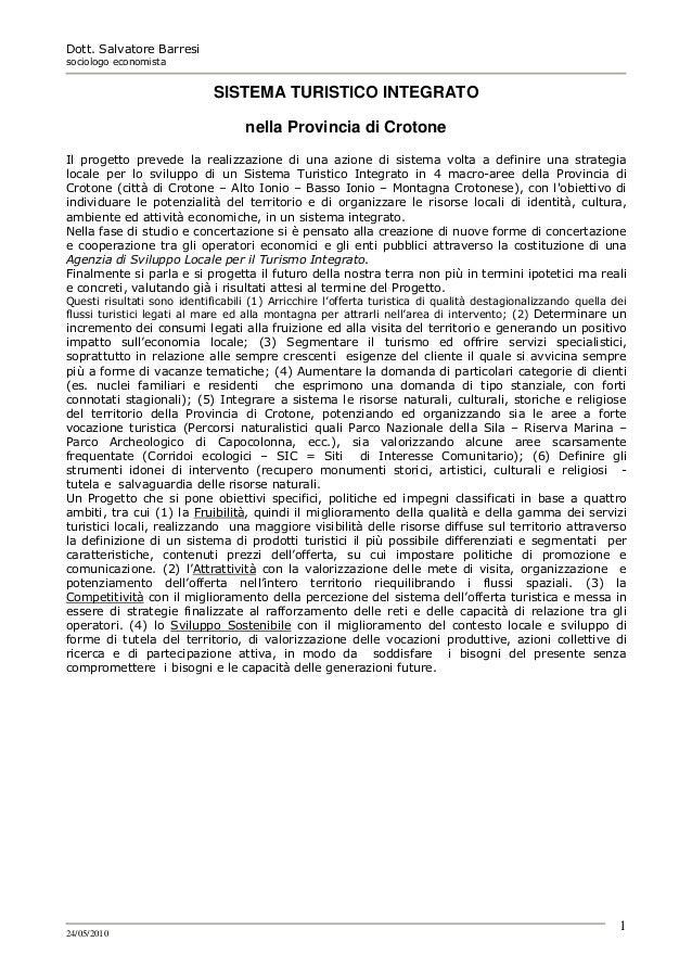 Sistema turistico integrato   modello di sviluppo s. barresi-2010