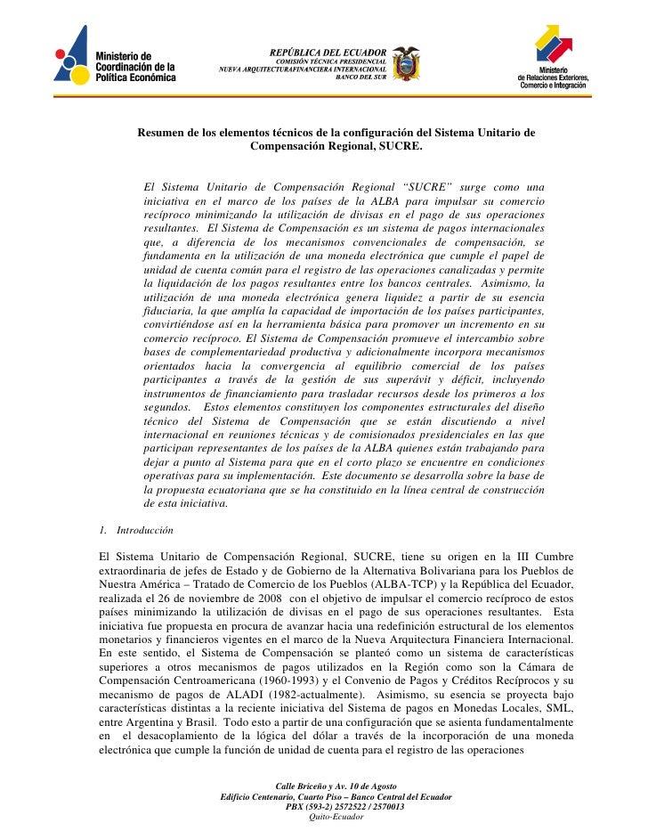 Resumen de los elementos técnicos de la configuración del Sistema Unitario de                           Compensación Regio...