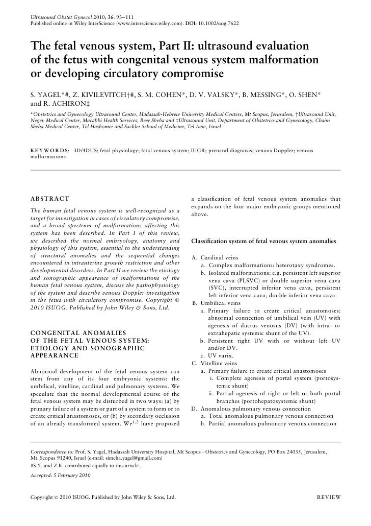 Ultrasound Obstet Gynecol 2010; 36: 93–111 Published online in Wiley InterScience (www.interscience.wiley.com). DOI: 10.10...