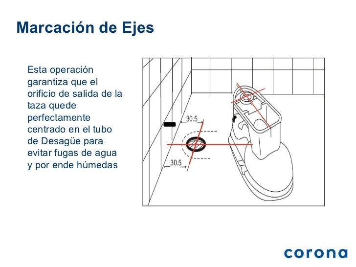 Tasa De Baño O Inodoro:marcación de ejes esta operación garantiza que el orificio de