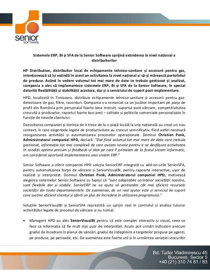 Sistemele ERP, BI și SFA de la Senior Software sprijină extinderea la nivel național a                                    ...