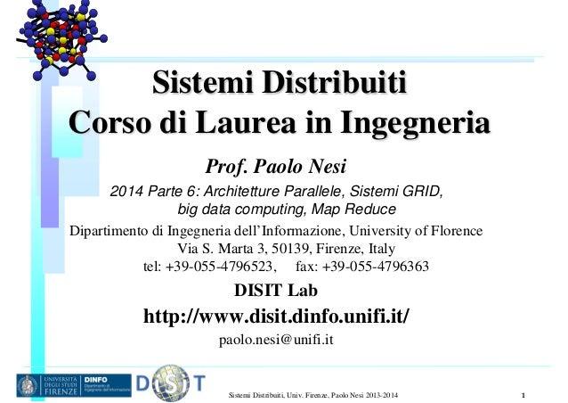 Sistemi Distribuiti, Univ. Firenze, Paolo Nesi 2013-2014 1 Sistemi Distribuiti Corso di Laurea in Ingegneria Prof. Paolo N...