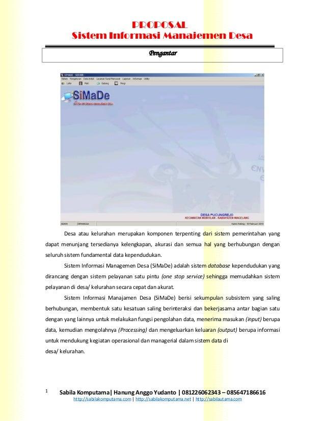 PROPOSAL           Sistem Informasi Manajemen Desa                                              Pengantar       Desa atau ...