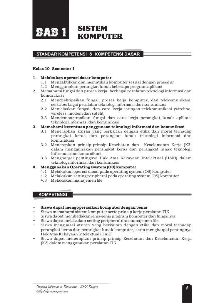 SISTEM    BAB 1                         KOMPUTER    STANDAR KOMPETENSI & KOMPETENSI DASARKelas 10 Semester 11.     Melakuk...