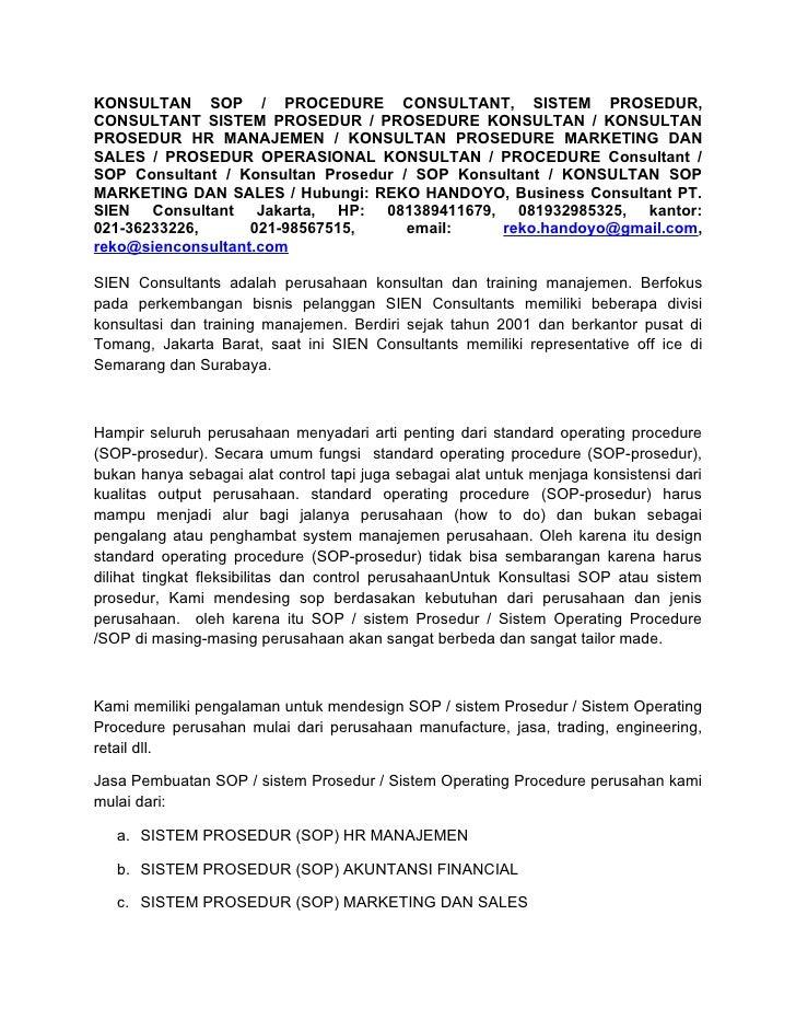 KONSULTAN SOP / PROCEDURE CONSULTANT, SISTEM PROSEDUR, CONSULTANT SISTEM PROSEDUR / PROSEDURE KONSULTAN / KONSULTAN PROSED...