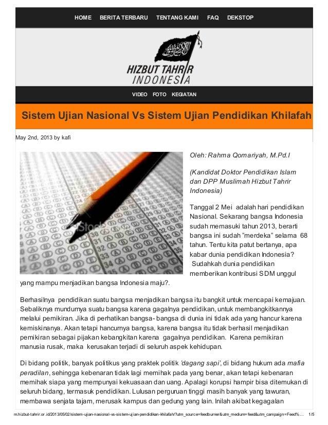 Sistem ujian nasional vs Sistem Ujian Pendidikan Khilafah