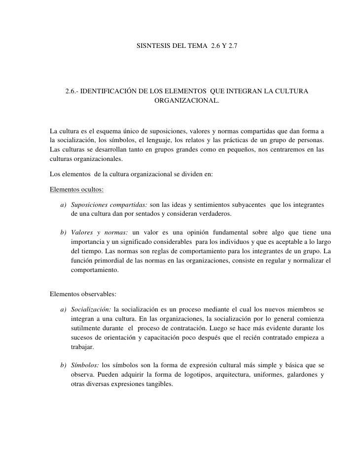 SISNTESIS DEL TEMA  2.6 Y 2.7<br />2.6.- IDENTIFICACIÓN DE LOS ELEMENTOS  QUE INTEGRAN LA CULTURA ORGANIZACIONAL.<br />La ...