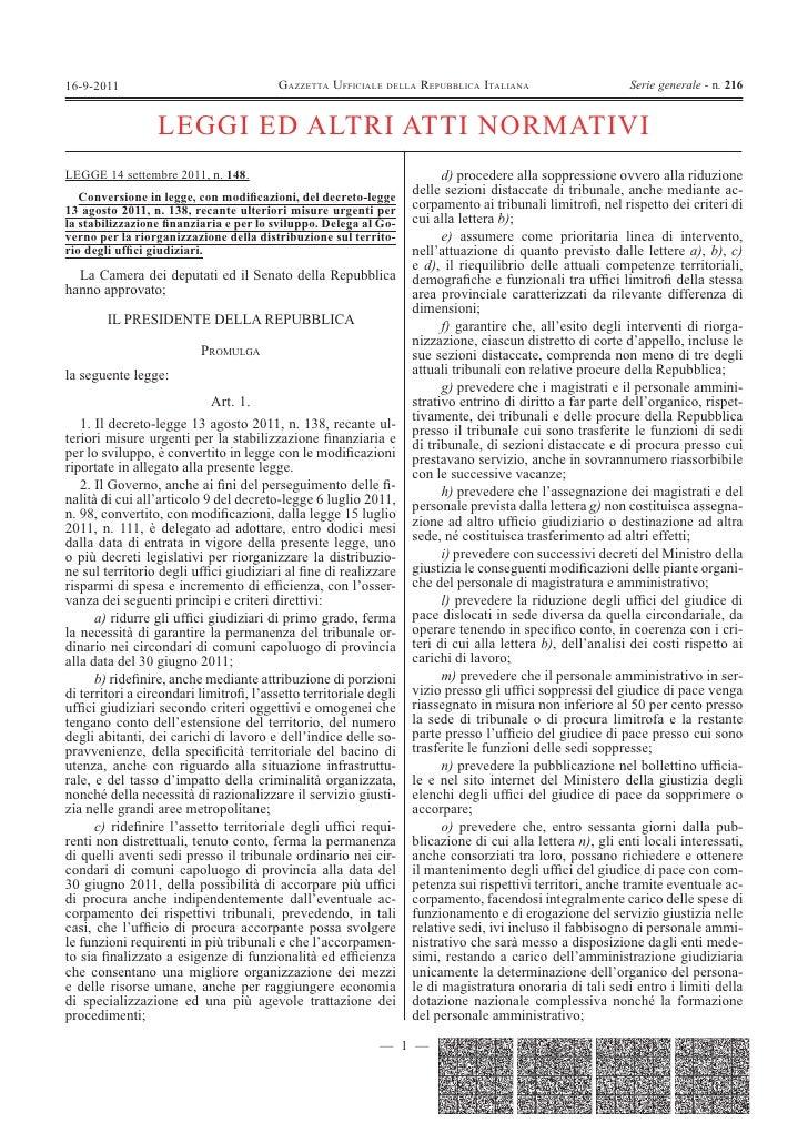 16-9-2011                                GAZZETTA UFFICIALE DELLA REPUBBLICA ITALIANA                       Serie generale...