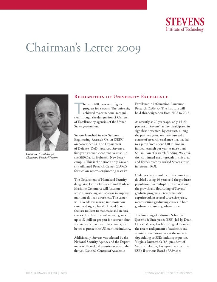 Chairman's Letter 2009                                       Recognition of University Excellence                         ...