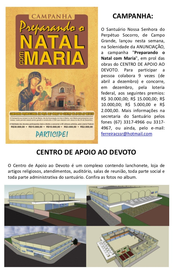 CAMPANHA:                                                O Santuário Nossa Senhora do                                     ...