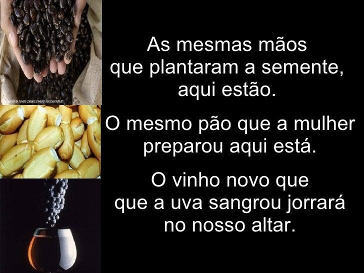 As mesmas mãos  que plantaram a semente,  aqui estão.  O mesmo pão que a mulher preparou aqui está. O vinho novo que que a...