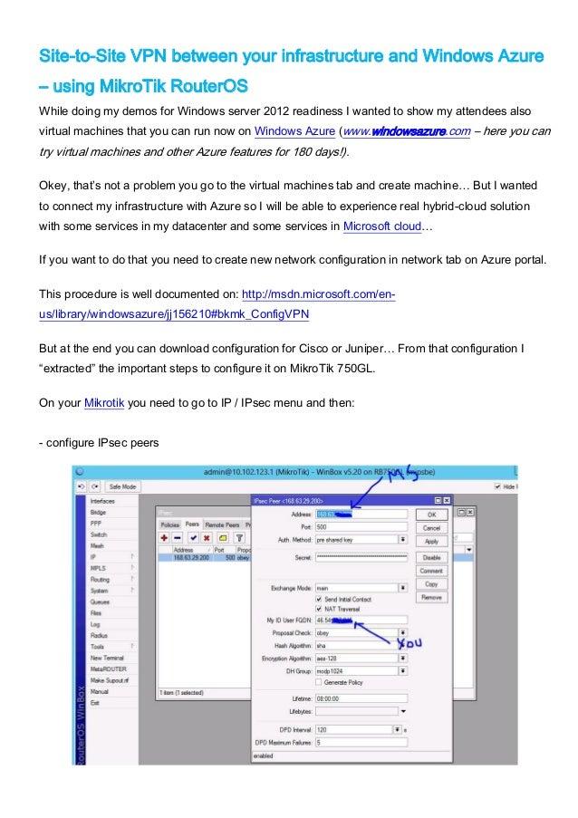 RouterOS Site-to-Site VPN to Windows Azure using Mikrotik RouterOS RB750GL