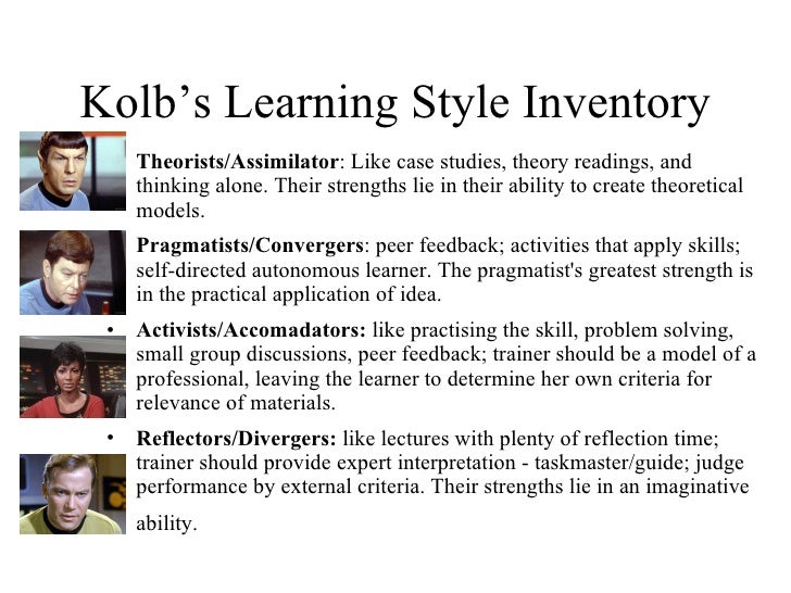Kolb learning styles essay