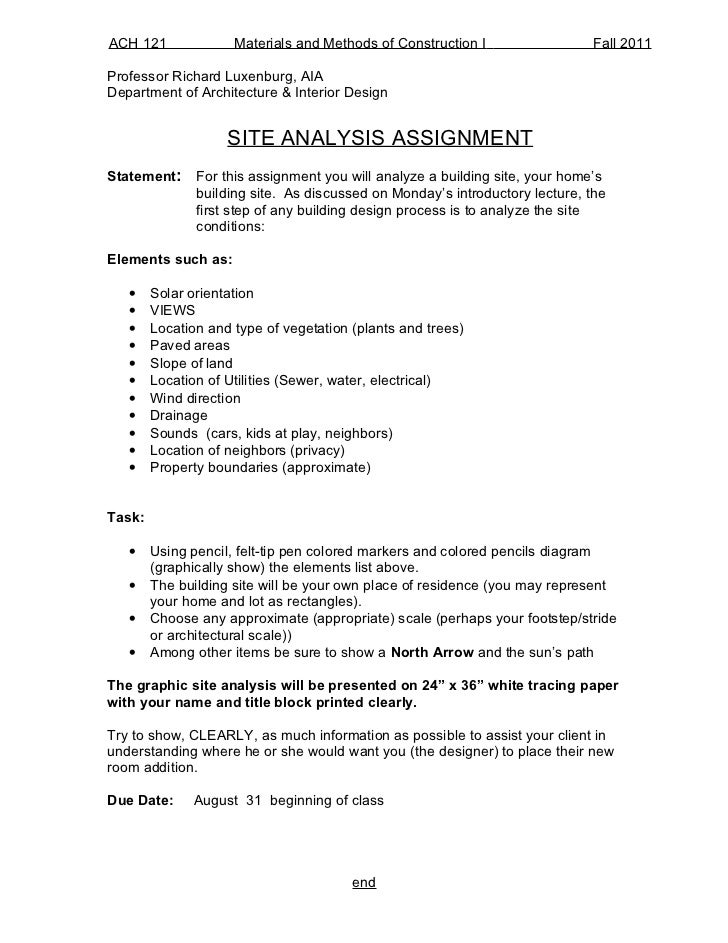 ACH 121              Materials and Methods of Construction I                 Fall 2011Professor Richard Luxenburg, AIADepa...
