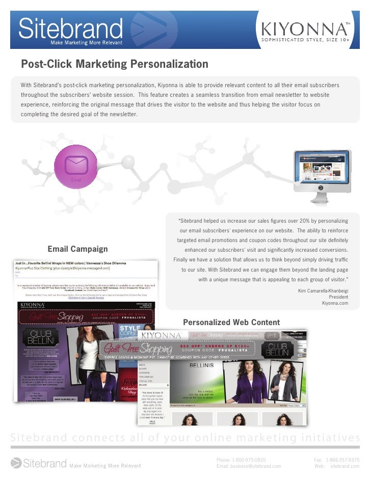 Post-Click Marketing Personalization With Sitebrand's post-click marketing personalization, Kiyonna is able to provide rel...