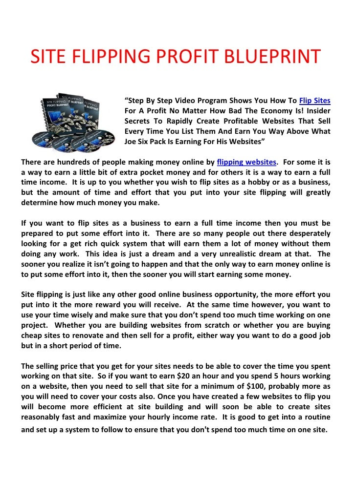 """SITE FLIPPING PROFIT BLUEPRINT                               """"Step By Step Video Program Shows You How To Flip Sites      ..."""