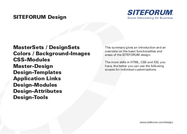 www.siteforum.com/design Social Networking for Business SITEFORUM® MasterSets / DesignSets Colors / Background-Images CSS-...